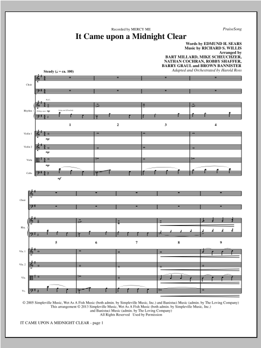 It Came Upon A Midnight Clear (COMPLETE) sheet music for orchestra by Harold Ross