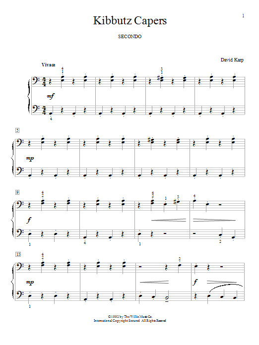 Kibbutz Capers sheet music for piano four hands (duets) by David Karp