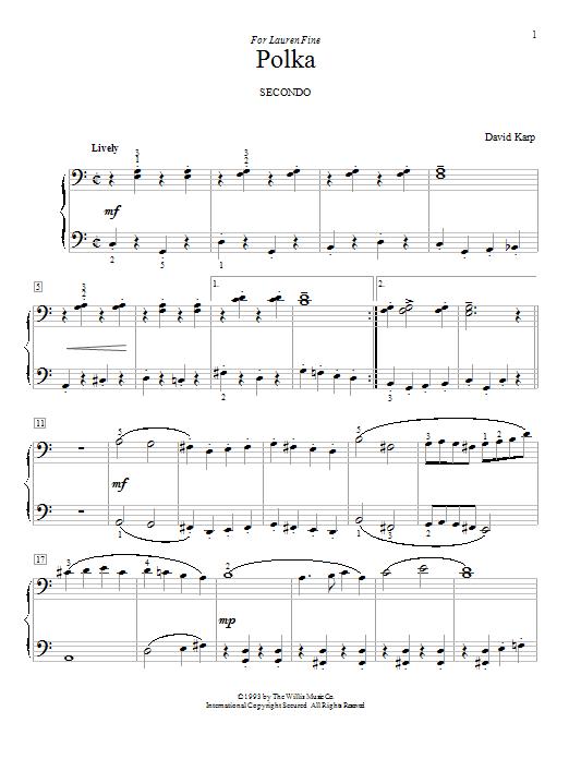 Partition piano Polka de David Karp - 4 mains
