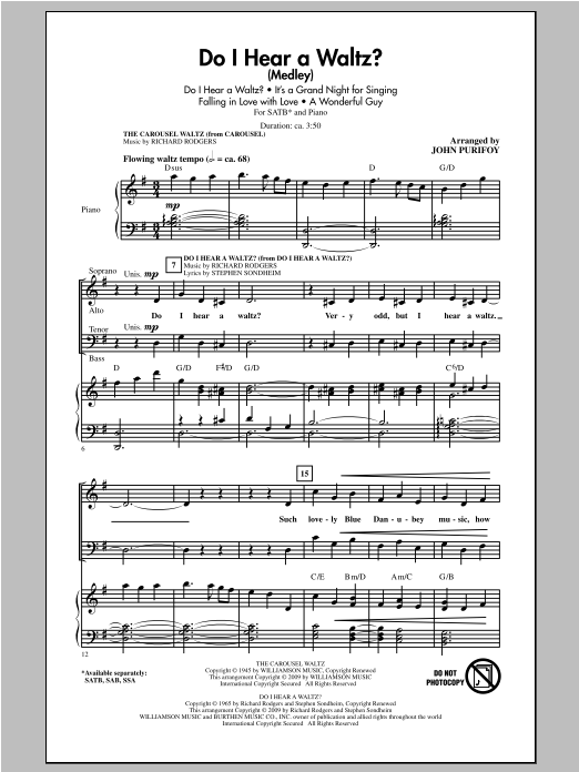 Partition chorale Do I Hear A Waltz? de John Purifoy - SATB