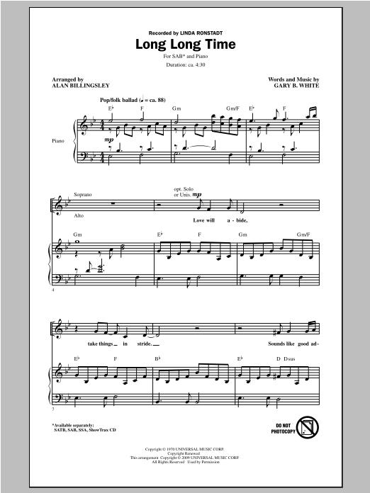Partition chorale Long Long Time de Linda Ronstadt - SAB