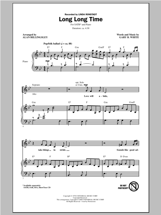 Partition chorale Long Long Time de Linda Ronstadt - SATB