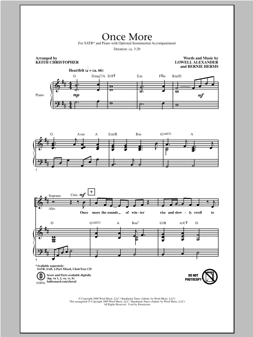 Partition chorale Once More de Lowell Alexander - SATB
