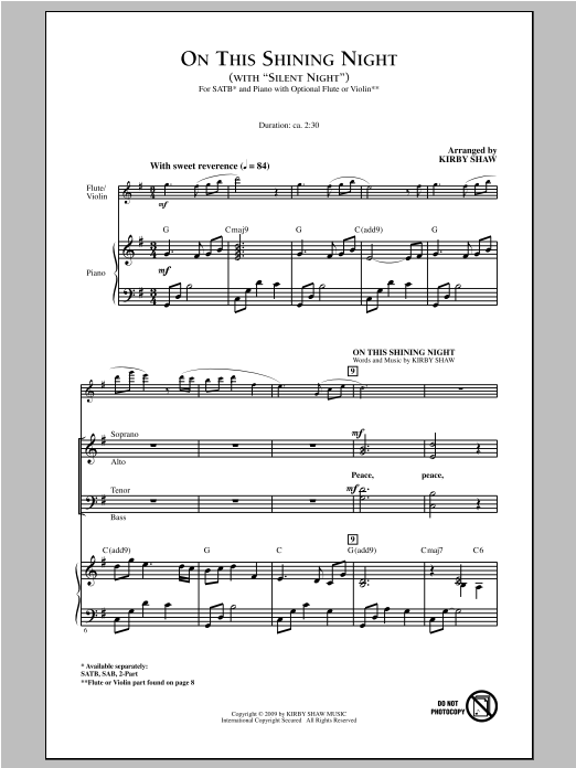 Partition chorale On This Shining Night de Kirby Shaw - SATB