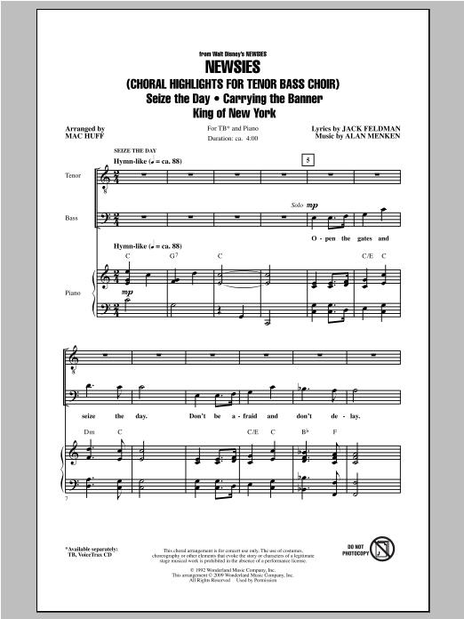 Partition chorale Newsies (Choral Highlights for Tenor Bass Choir) de Mac Huff - TB