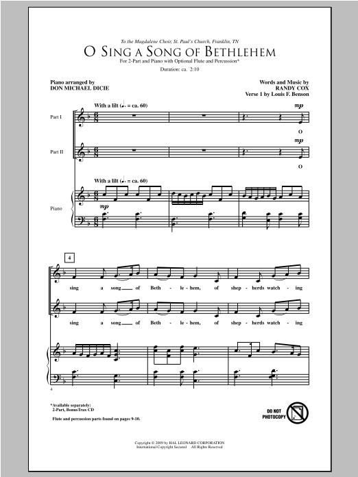Partition chorale O Sing A Song Of Bethlehem de Randy Cox - 2 voix