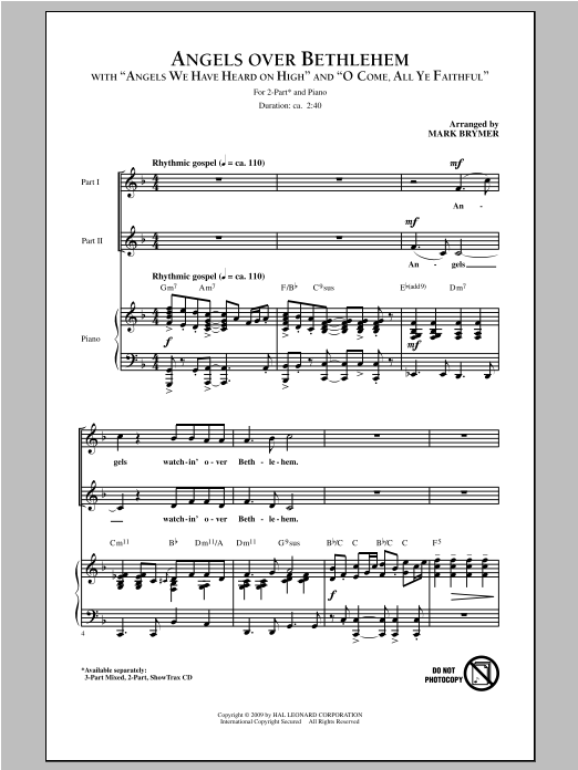 Partition chorale Angels Over Bethlehem de Mark Brymer - 2 voix