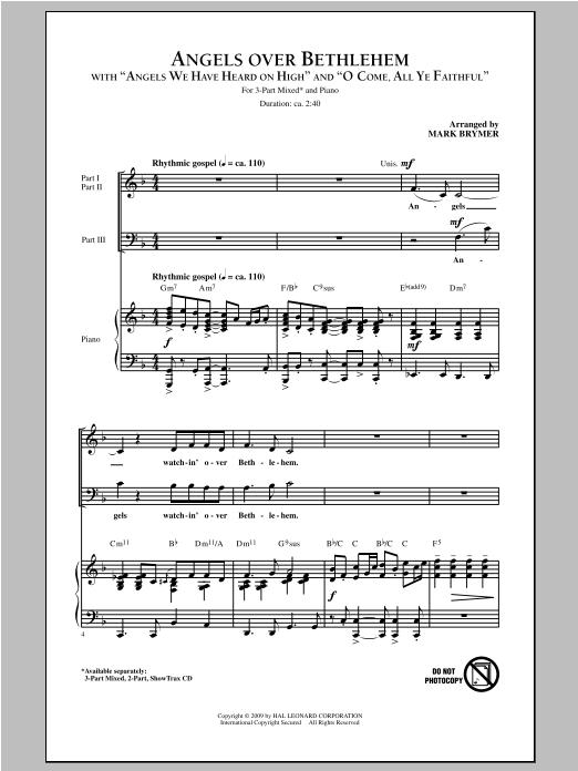 Partition chorale Angels Over Bethlehem de Mark Brymer - 3 voix mixtes
