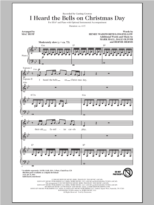 Partition chorale I Heard The Bells On Christmas Day de Mac Huff - SSA