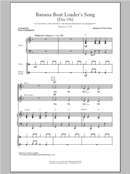 Partition chorale The Banana Boat Song de Tom Anderson - 2 voix