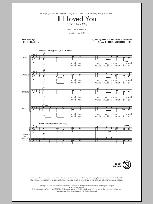 Partition chorale If I Loved You de Rodgers & Hammerstein - TTBB