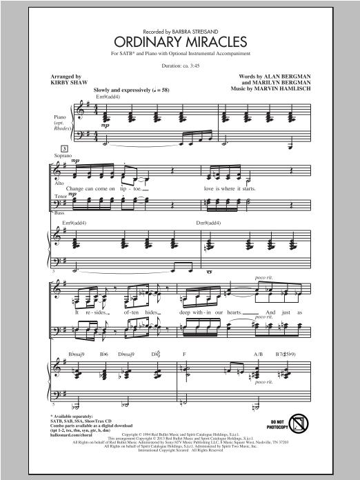 Partition chorale Ordinary Miracles de Marvin Hamlisch - SATB