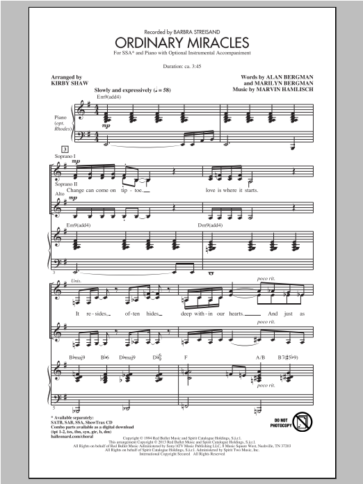 Partition chorale Ordinary Miracles de Marvin Hamlisch - SSA