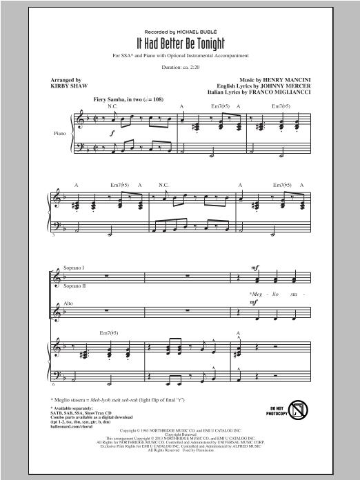 Partition chorale It Had Better Be Tonight de Michael Bublé - SSA