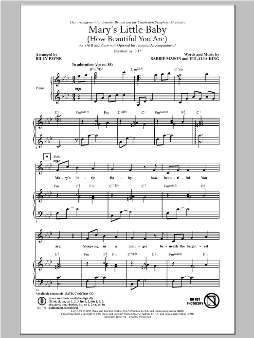 Partition autre Mary's Little Baby (How Beautiful You Are) de Billy Payne - SATB