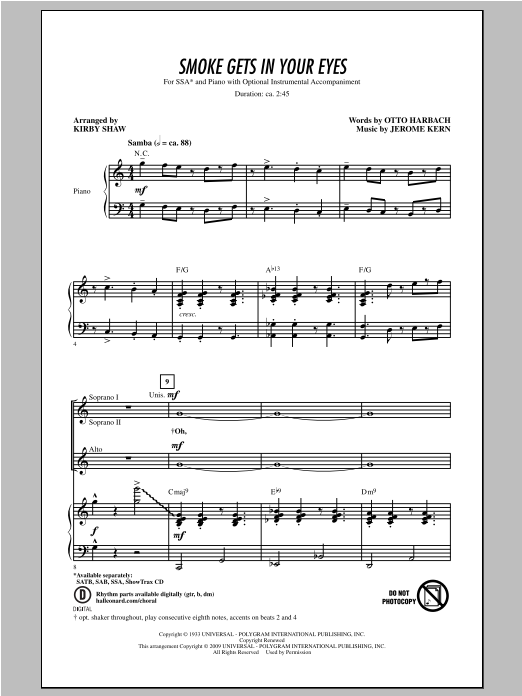 Partition chorale Smoke Gets In Your Eyes de Kirby Shaw - SSA