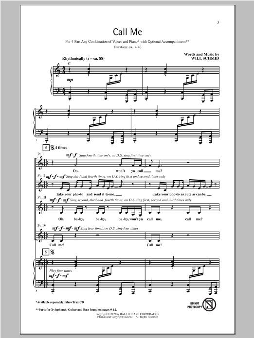 Partition chorale Call Me de Will Schmid - 4 voix