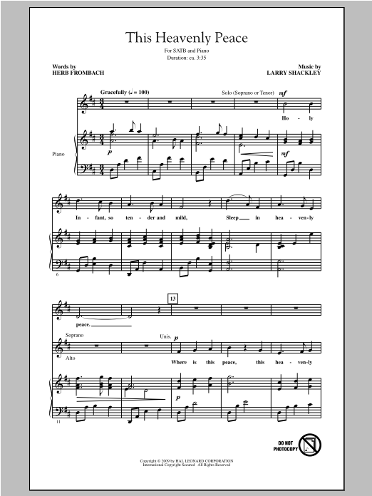 Partition chorale This Heavenly Peace de Herb Frombach - SATB