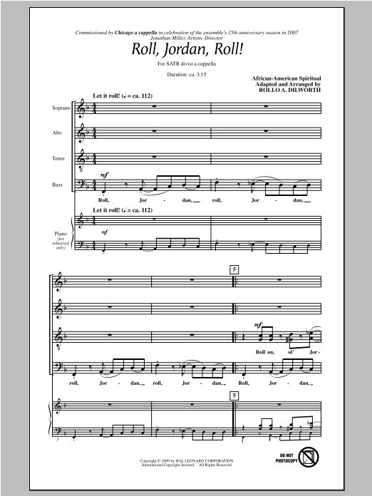Partition chorale Roll, Jordan, Roll! de Rollo Dilworth - SATB
