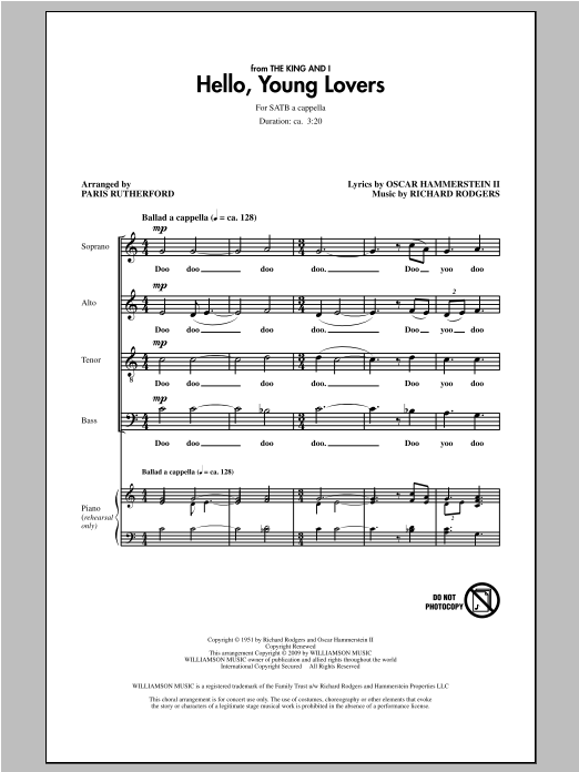 Partition chorale Hello, Young Lovers de Paris Rutherford - SATB