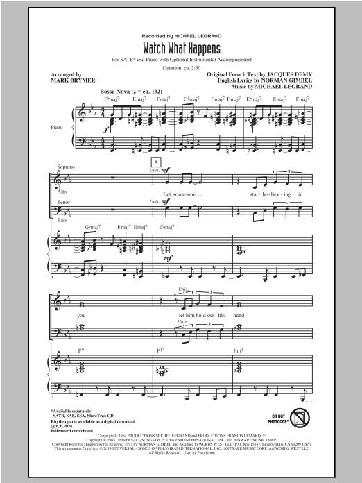 Partition chorale Watch What Happens de Michael Legrand - SATB