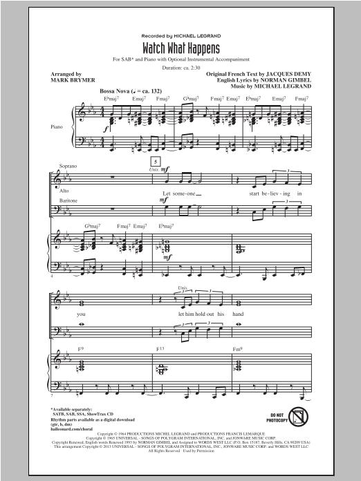 Partition chorale Watch What Happens de Michael Legrand - SAB
