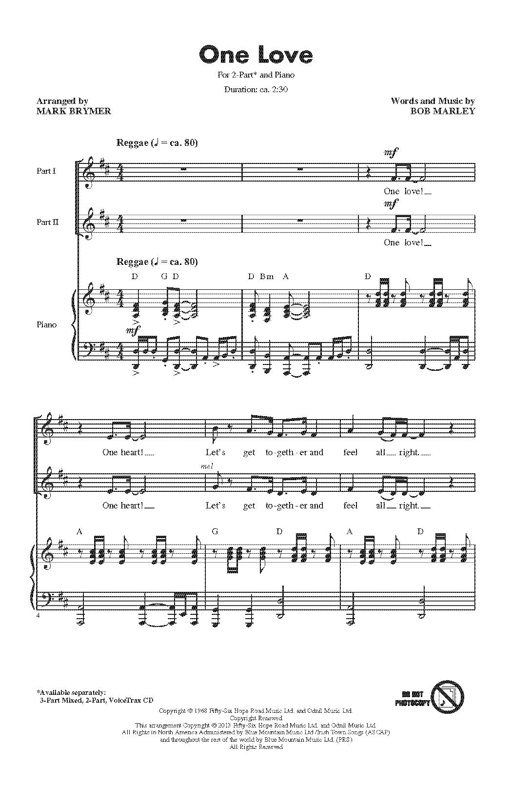Partition chorale One Love de Bob Marley - 2 voix