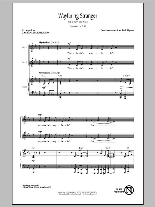 Partition chorale Wayfaring Stranger de Cassandra Emerson - 2 voix