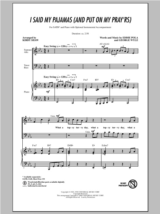 Partition chorale I Said My Pajamas (And Put On My Pray'rs) de Kirby Shaw - SATB