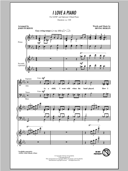 Partition chorale I Love A Piano de Irving Berlin - SATB