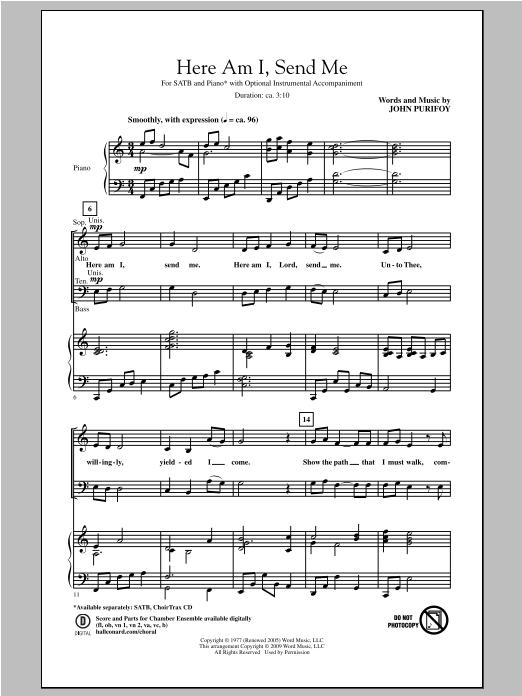 Partition chorale Here Am I, Send Me de John Purifoy - SATB