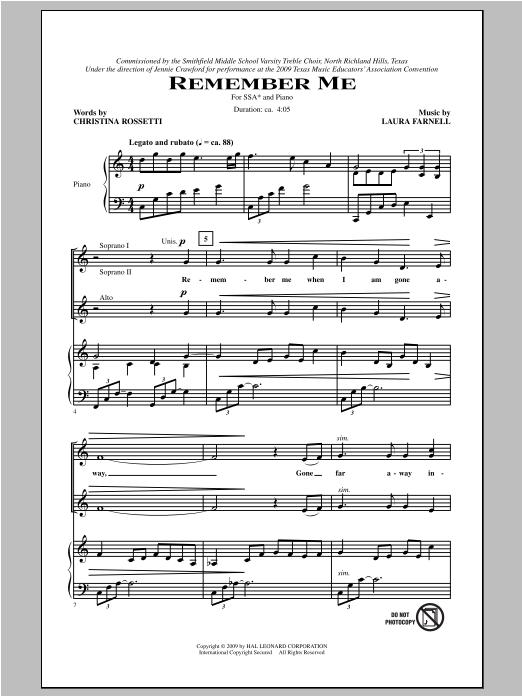 Partition chorale Remember Me de Laura Farnell - SSA