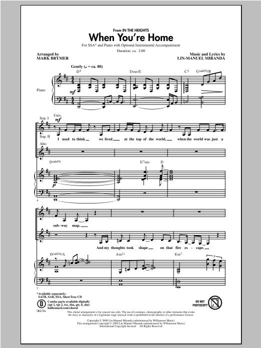 Partition chorale When You're Home (from In The Heights) de Mark Brymer - SSA