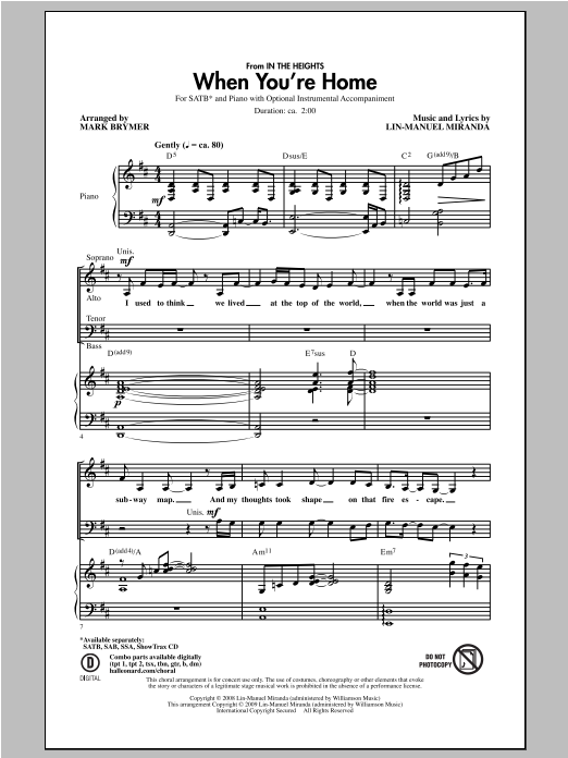 Partition chorale When You're Home (from In The Heights) de Mark Brymer - SATB