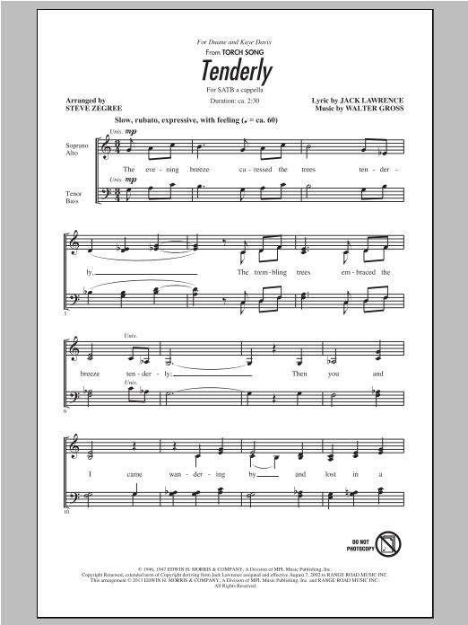 Partition chorale Tenderly de Steve Zegree - SATB