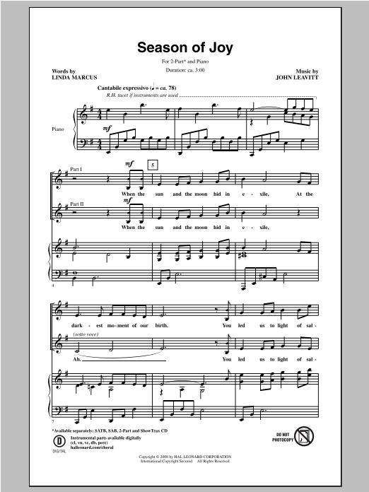 Partition chorale Season Of Joy de John Leavitt - 2 voix