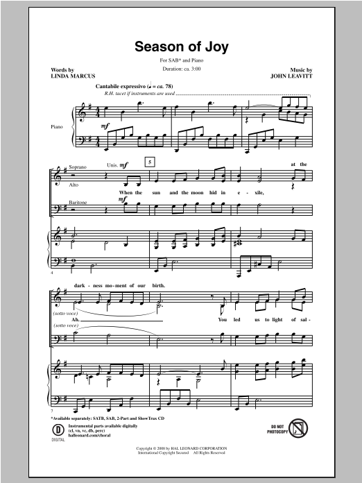 Partition chorale Season Of Joy de John Leavitt - SAB
