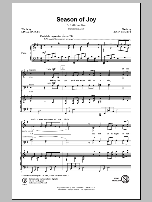 Partition chorale Season Of Joy de John Leavitt - SATB