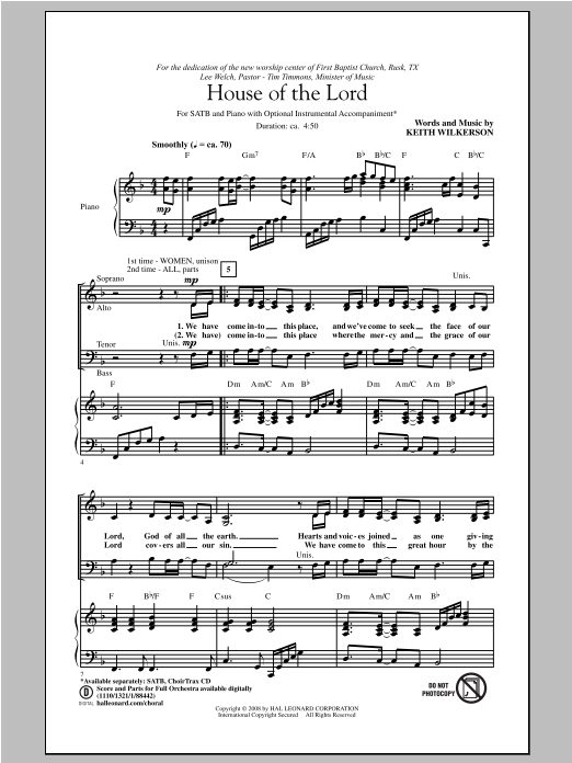 Partition chorale House Of The Lord de Keith Wilkerson - SATB