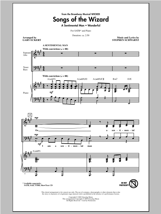 Partition chorale Songs of the Wizard (from Wicked) de Gary Eckert - SATB