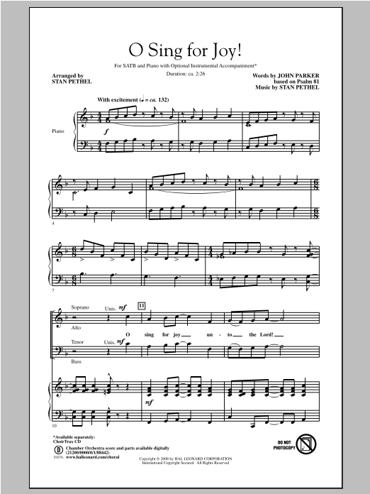 Partition chorale O Sing For Joy! de John Parker - SATB