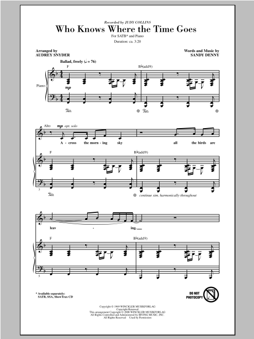 Partition chorale Who Knows Where The Time Goes de Judy Collins - SATB