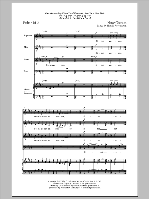 Partition chorale Sicut Cervus de Nancy Wertsch - SATB