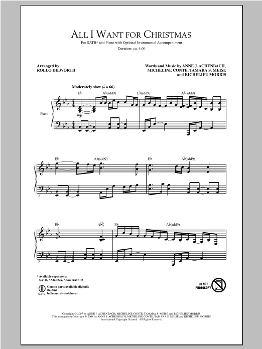 Partition chorale All I Want For Christmas de Rollo Dilworth - SATB