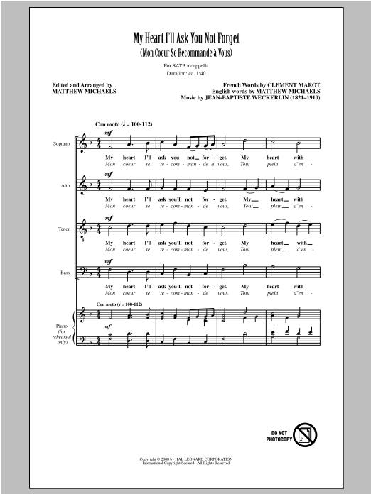 Partition chorale My Heart I'll Ask You Not Forget (Mon Coeur Se Recommande A Vous) de Matthew Michaels - SATB