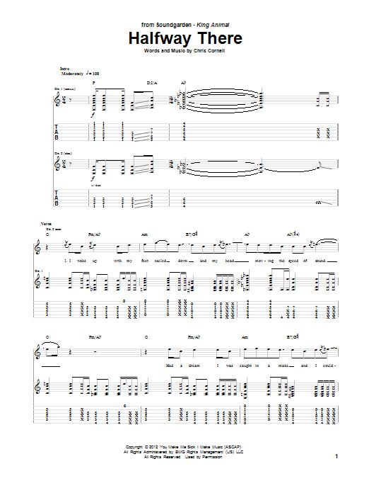 Tablature guitare Halfway There de Soundgarden - Tablature Guitare