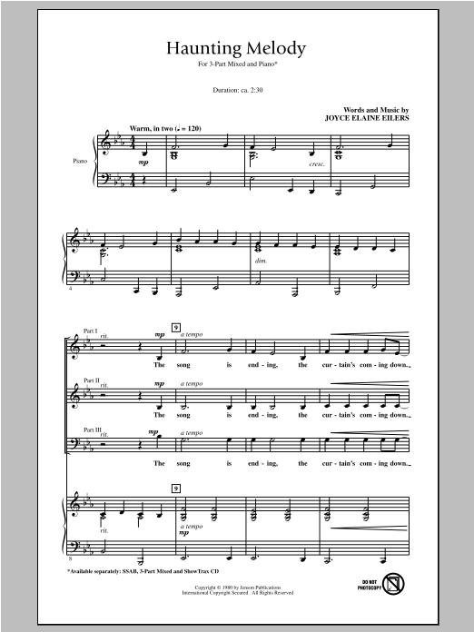 Partition chorale Haunting Melody de Joyce Eilers - 3 voix mixtes