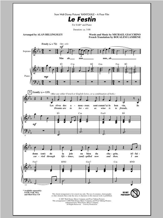 Partition chorale Le Festin (from Ratatouille) de Alan Billingsley - SAB