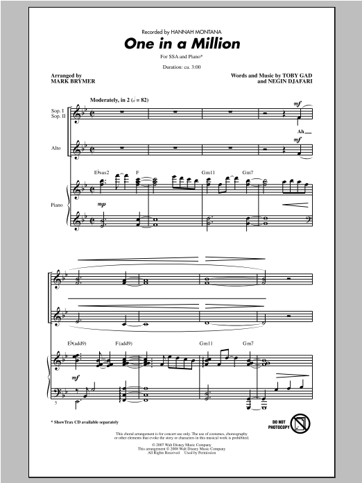 One In A Million sheet music for choir and piano (SSA) by Mark Brymer