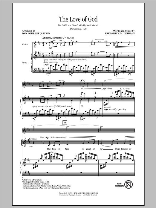 Partition chorale The Love Of God de Dan Forrest - SATB